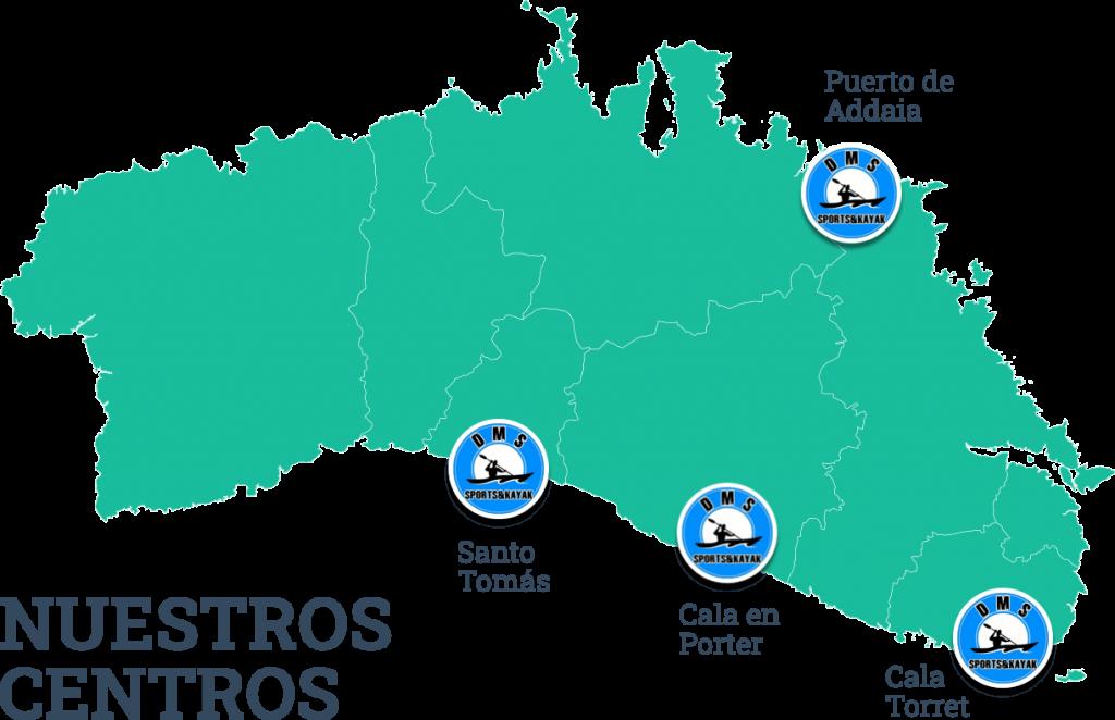 Mapa de los centros de DMS Sports Kayak